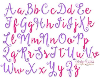 """BX FORMAT -Sizes 1"""",2"""",3"""" - Instant Download - Beautiful Day Script - Embroidery Font Design 261"""