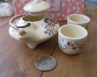Tiny Japanese Style Tea Set, Doll Tea Pot w/ 2 Cups in Original Box Child's Tea Set, Ric-Shaw & Flowers