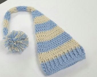 Crochet Baby Boy Elf Hat Boy Girl Photo Prop Made to Order - Size Newborn, 0-3 Months, 3-6 Months, 6-12 Months, Toddler - Aran & Light Blue