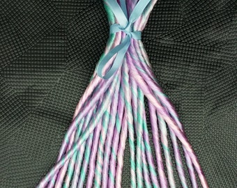 Pastel Rainbow Single Ended Dreads 18 - 21 inches Long Made To Order
