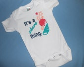 """Beautiful Baby Onsie - """"It's a shore thing."""" Hand Painted -"""