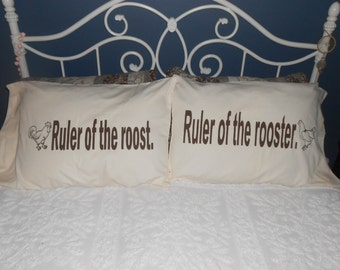 Ruler of the roost and Ruler of the rooster - Couples Pillowcases - Bedroom Decor