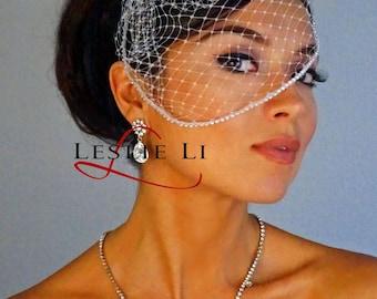 Leslie Li Marlow Style Crystal Edge Bridal Birdcage Veil 28
