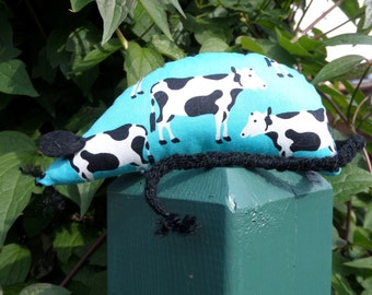 Hand Made Catnip Mouse - Funky Black & White Cow design - Cat Toy with Extra Strong Catnip
