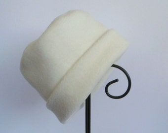 Ivory Fleece Hat, Roll Brim Hat, Soft and Warm Hat, Ivory Hat, Fleece Hat