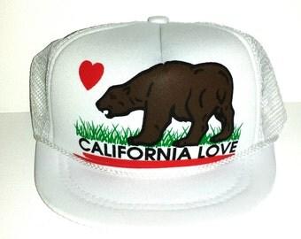 California Love White  Baby Sized Mesh Trucker Hat Cap Newborn Infant