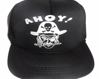 KID'S TODDLER Ahoy Pirate Snapback Mesh Trucker Hat Cap Black