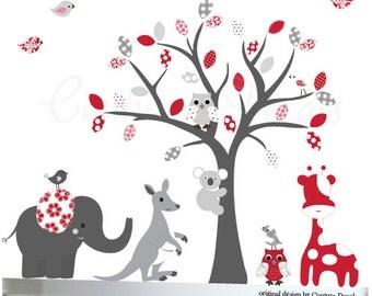 Grey Wall Decals Nursery Tree Decal Owl Tree Decal Tree Nursery Wall Decal Kids Tree Decal Outback Animal Decals