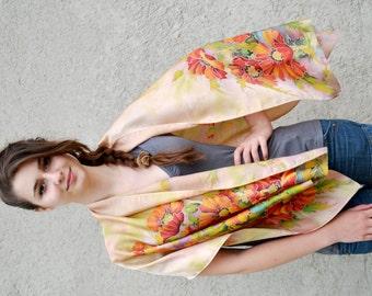 Hand painted satin silk scarf, flower garden scarf, Batik shawl, Light summer scarf ,  OOAK READY to SHIP