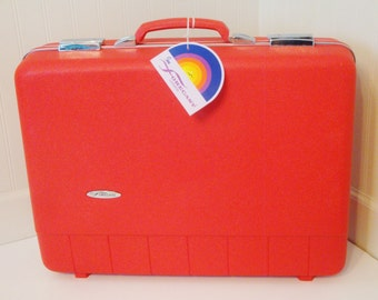 Vintage Red Luggage Suitcases Hard Shell for Valentines Day Gift Sears Forecaster 60s Photo Prop. Utility Case. Retro Collectible Stacking