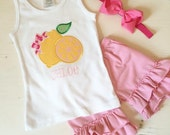Pink Lemonade Tank Top with Name for Baby, Toddler, Little Girl. Lemon Summer Shirt.