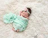 Ready to ship, newborn photography prop, layering set, long aqua blue ruffle stretch wrap and pink headband tieback, baby girl photo prop
