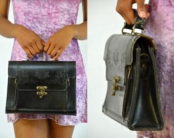 Vintage Tooled Leather Brass Turn Lock Floral Southwestern Handbag