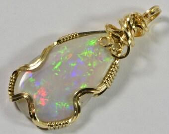 Australian Opal Pendant Solid Opal Wire Wrapped Pendant Opal  Pendant Handmade Jewelry