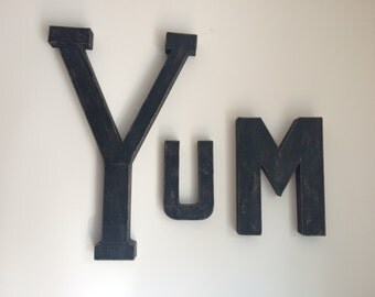 YUM!  Vintage Style Letters. Painted Letters. Distressed Letters. Faux Metal style letters.