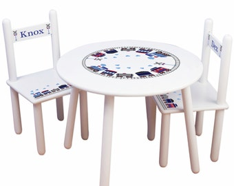 Personalized Child's Train Table & Chair Set - great for Toddlers Playroom or Train Nursery Bedroom 2 Chairs Childrens name TABLESETRND-202