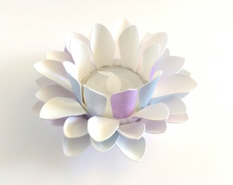 Watercolor Paper Lotus - Purple and Blue - Wedding Table Decor - Paper Floral Lantern - Waterlily - Lotus Flower - Tealight holder