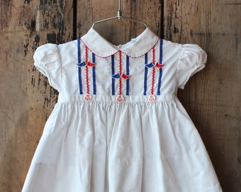 Girls Patriotic Summer Dress Cap Sleeves Peter Pan Collar