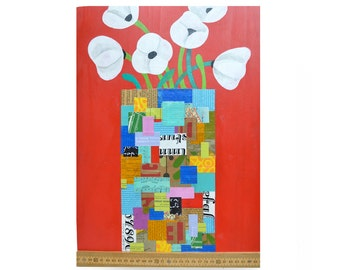 ORIGINAL 12x17 PAINTING, collage painting on wood, white poppies in a vase, paper mosaic, by Elizabeth Rosen