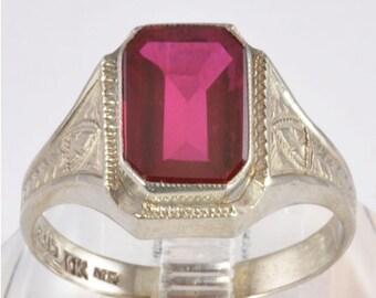 Vintage Mens 10K Gold Ring - Art Deco White Gold Belais Bros Imitation Ruby Ring - Men's 1930s Signet Style Ring - Size 10 Man's Gold Ring