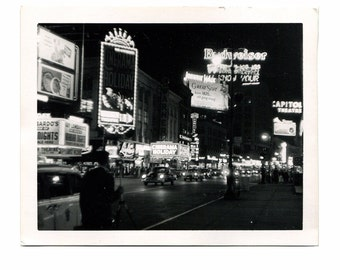 """Vintage Black & White NYC Photo - 1955 Times Square New York City Movie Theatres - 4"""" x 5"""" Vintage Photography - Scrap Book and Art Supplies"""