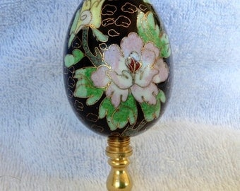 Nice large enamel  cloisonné egg lamp finial dark blue pastel flowers