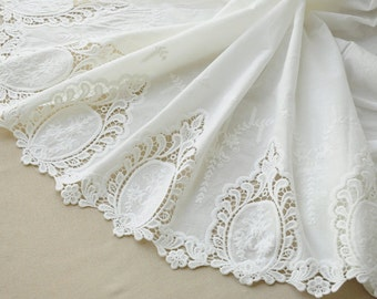 vintage style cotton lace fabric with hollowed out floral