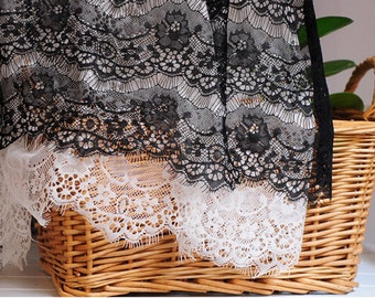 chantilly lace fabric with eyelash design