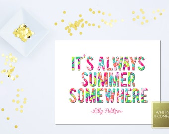 Lilly Pulitzer Art- Lilly Inspired-It's Always Summer Somewhere- Lilly Pulitzer Inspired Art Digital Art - DIGITAL INSTANT DOWNLOAD
