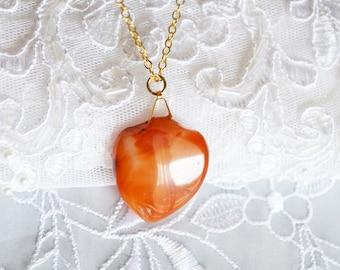 Agate Heart Pendant, Vintage Stone, 22k Gold Plated Chain Link, Romantic Design,HALF OFF Sale, Item No. B409