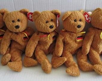 SALE: TY Beanie Baby - GERMANIA Stuffed Animal Glee Set of 5 Cute Teddy Bears Craft Supply Photo Prop