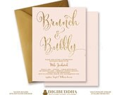 BRUNCH & BUBBLY INVITATION Bridal Shower Invite Blush Pink Gold Glitter Calligraphy Modern Classic Free Shipping or DiY Printable- Mila