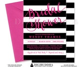 BLACK & PINK BRIDAL Shower Invitation Black and White Stripes Printable Hot Pink Invite Modern Wedding Free Priority Shipping or DiY- Wendy