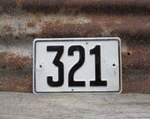 Vintage Number Sign # 321 Black & White Metal Sign Boat License Plate Small Metal 1960s 1970s Era # Sign Wall Decor vtg Digit Numeral Old