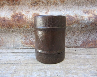 Antique Miniature Container Can w/Screen Divider Cap on both Ends Rusted Metal Early 1900s Era for Storage or Display Organization Display