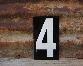 Number Sign Metal Vintage 3 or Number 4 Double Sided Small 7 1/4 x 4 1/4 Inches Three or Four White Black vtg Gas Price Sign Service Station