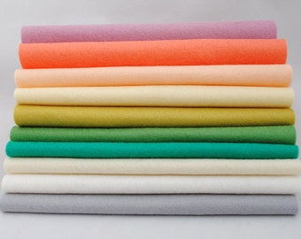 Wool Felt Sheets - 10 pieces - 'Modern Pastels' collection - 100% wool felt