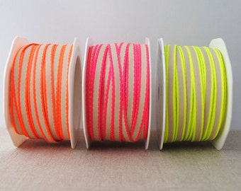 Narrow neon edge ribbon - 3m, choose your colour