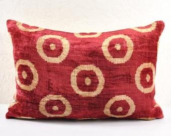 Handmade Velvet Silk Ikat pillow cover Lp119, Bohemian pillow