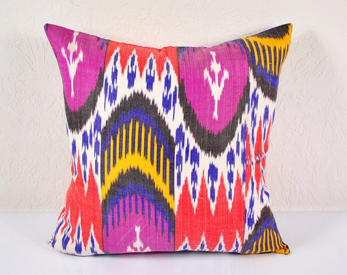 Ikat Pillow, Hand Woven Ikat Pillow Cover A518-1AA3, Ikat throw pillows, Designer pillows, Decorative pillows, Accent pillows
