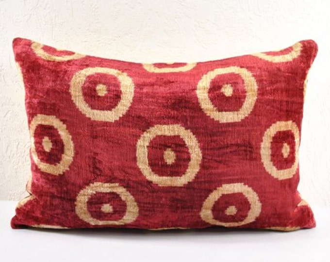 Handmade Velvet Silk Ikat pillow cover Lp119, Bohemian pillow
