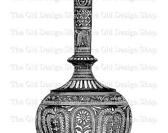 Ornate Vase with Vintage Clip Art Digital Download Transfer Image