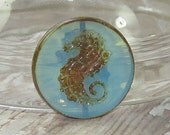 Blue Seahorse 23mm Coin Bead Czech Glass Milky Picasso (1)