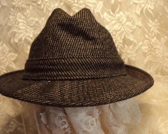 Retro Fedora-Black and grey stripe hat,  very good condition, imported cashmere hat for men