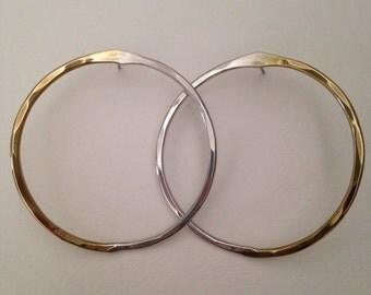 Brass and sterling silver hoop earrings