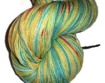 "Hand Dyed Superwash Merino Wool Lace Yarn, 2-ply Yellow Red Turquoise ""Sunshine at the Beach"" - Hand Dyed Lace Yarn - Hand Dyed Wool Yarn"