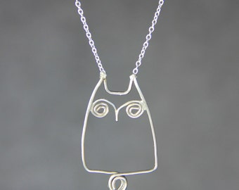 Sterling silver chubby owl pandant necklace Free US Shipping handmade Anni designs