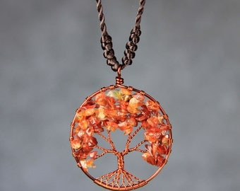 Halloween orange carnelian tree pendant necklace Free US Shipping handmade Anni Designs
