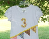 Birthday Banner T Shirt Size 3