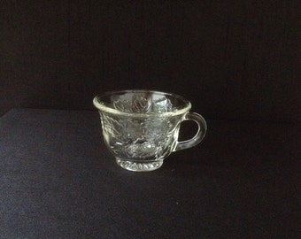 Vintage Clear Pressed Glass Punch Cup Indiana Glass Co Grape Leaf Pattern